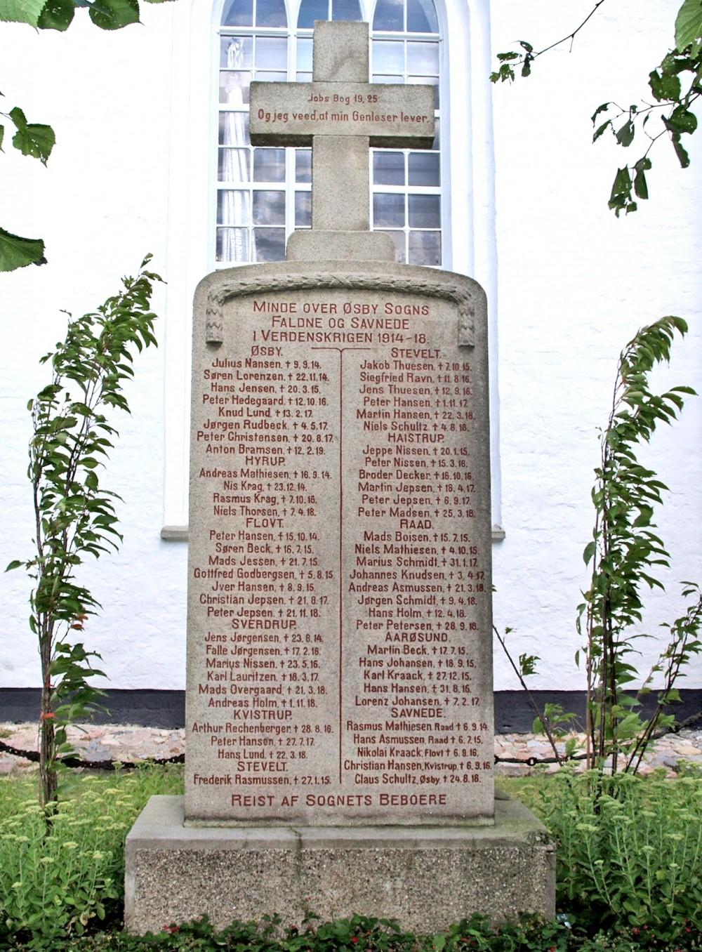 Mindesten, Øsby Kirkegård