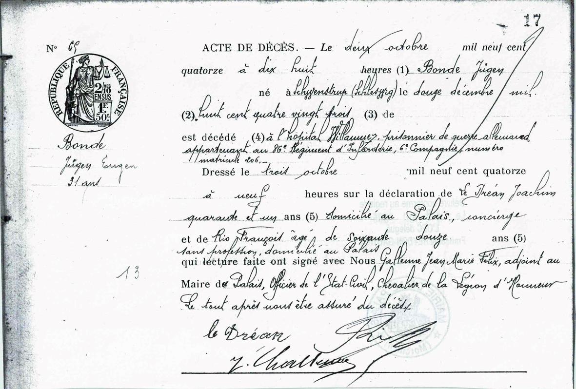Fransk dødsattest for Jørgen Nielsen Bonde