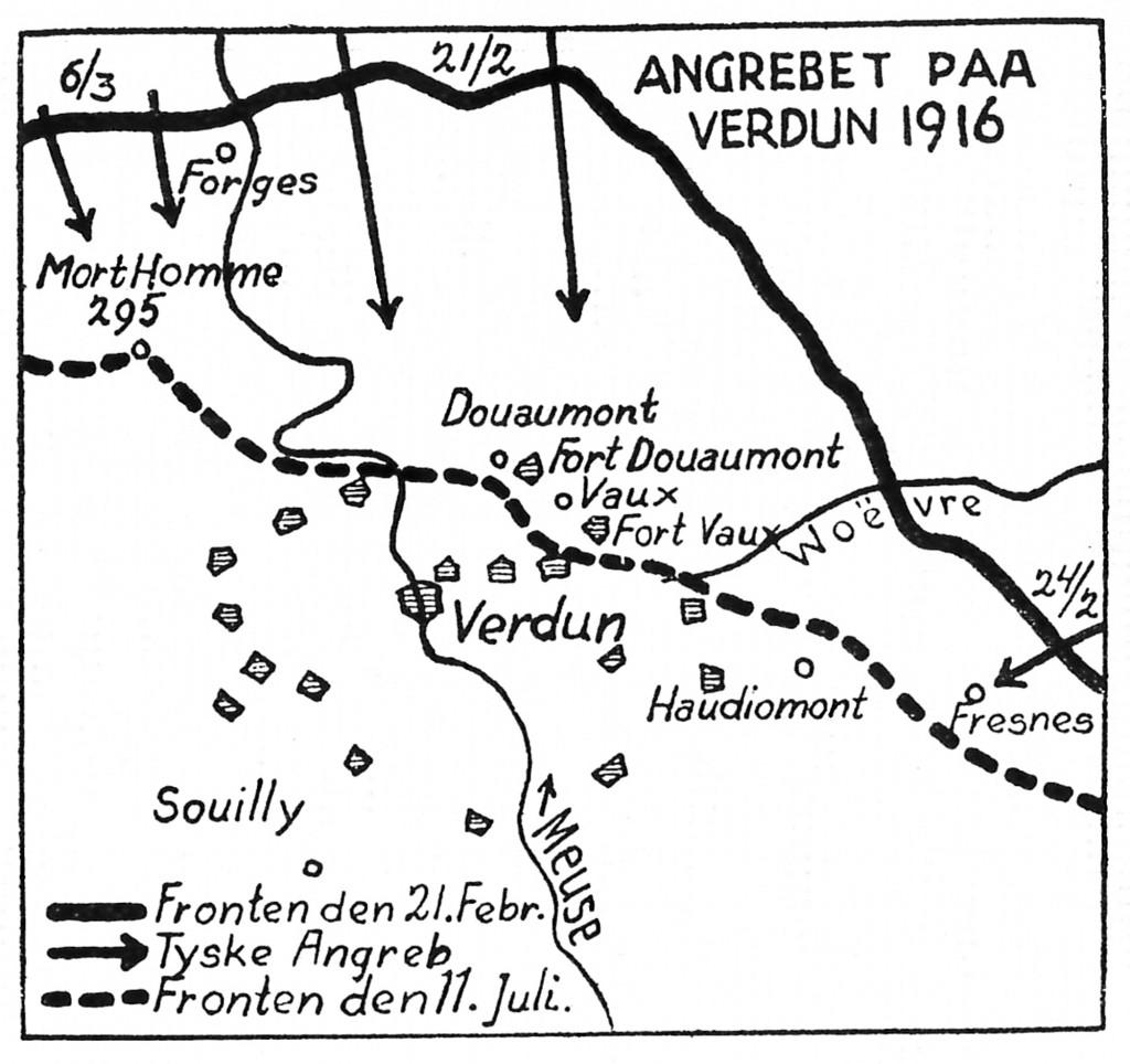 Kort over Verdun-fronten og de tyske angreb i 1916.