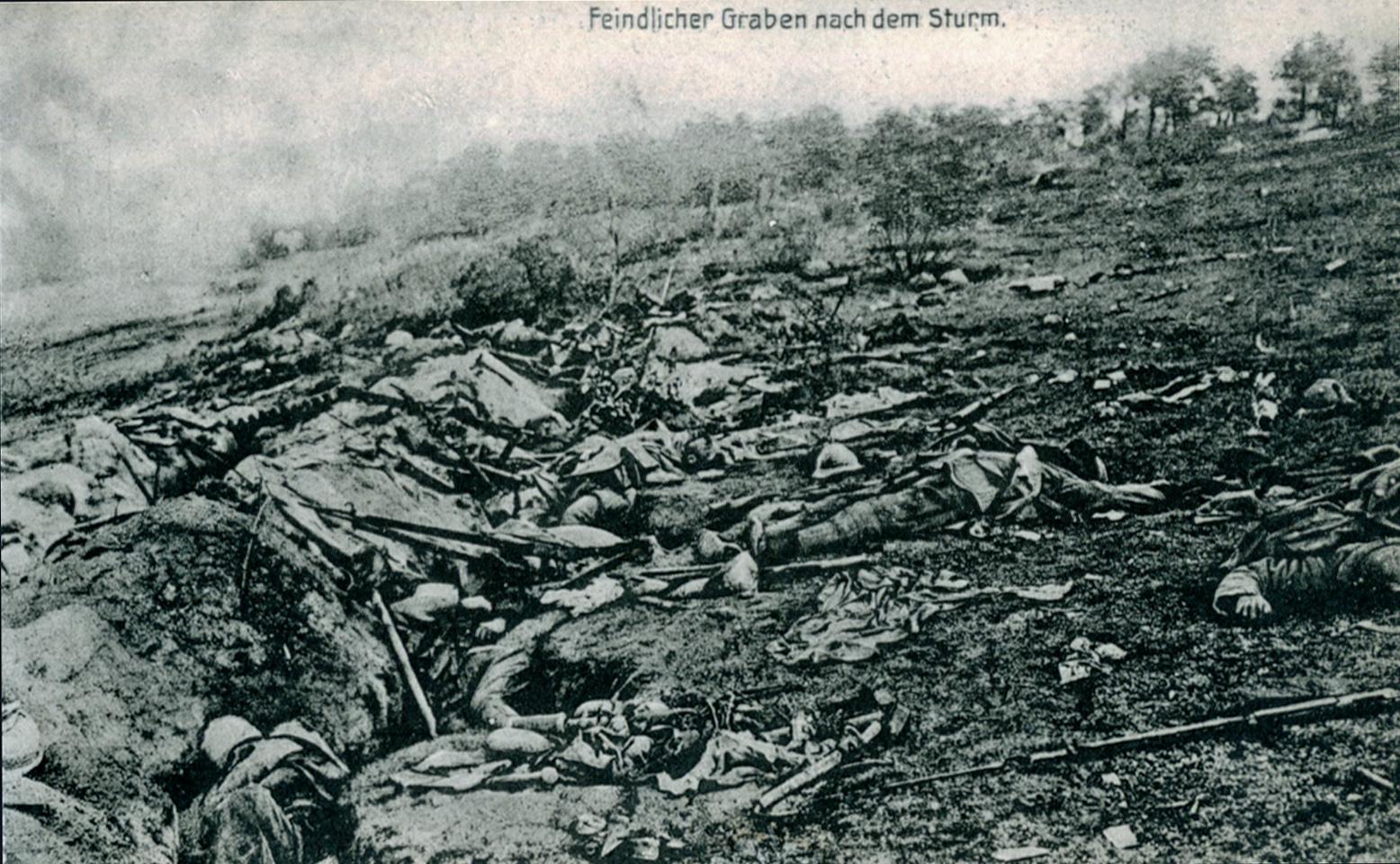 """16. juni 1915. Status på det franske angreb ved Moulin: """"Utålelig var ligstanken, der dag og nat forpestede skyttegravene."""""""