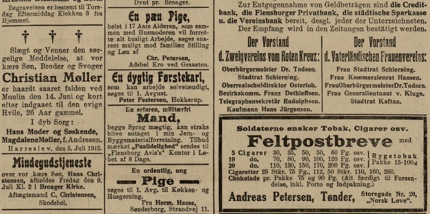 "5. juli 1915 – Flensborg Avis: ""Kender du mig ikke, Far!"""