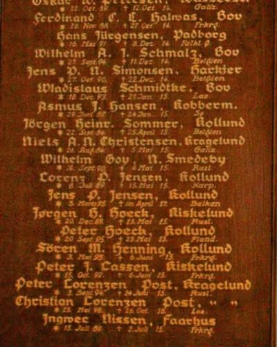 Detalje af mindetavle, Bov Kirke