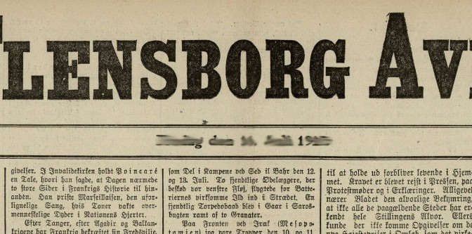 27. december 1915 – Flensborg Avis: Hilsner fra felten