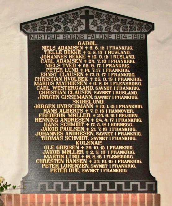 Mindetavle. Nustrup Kirke. 2 brødre Johannes og Tjelle Bekke, som faldt i krigen