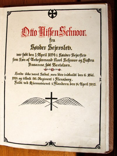 Mindeblad, i bog over faldne fra Emmerlev. Emmerlev Kirke