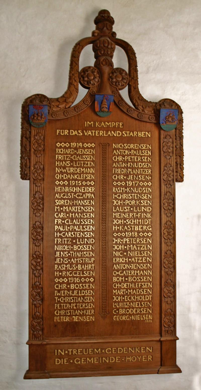 Mindetavle, Højer Kirke, med Hans Christian Riggelsens navn i venstre side lidt under midten
