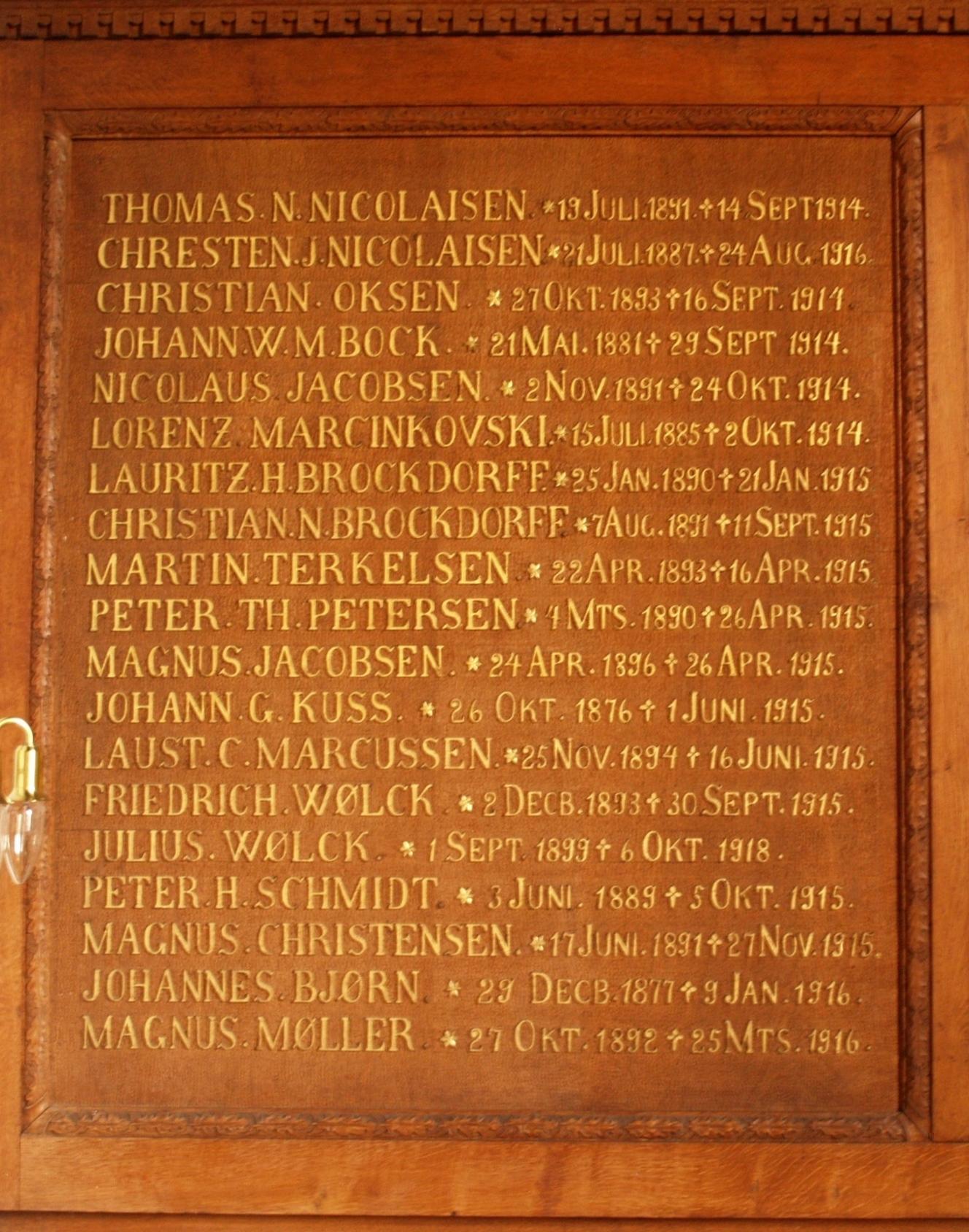 Detalje af mindetavle, Skærbæk Kirke