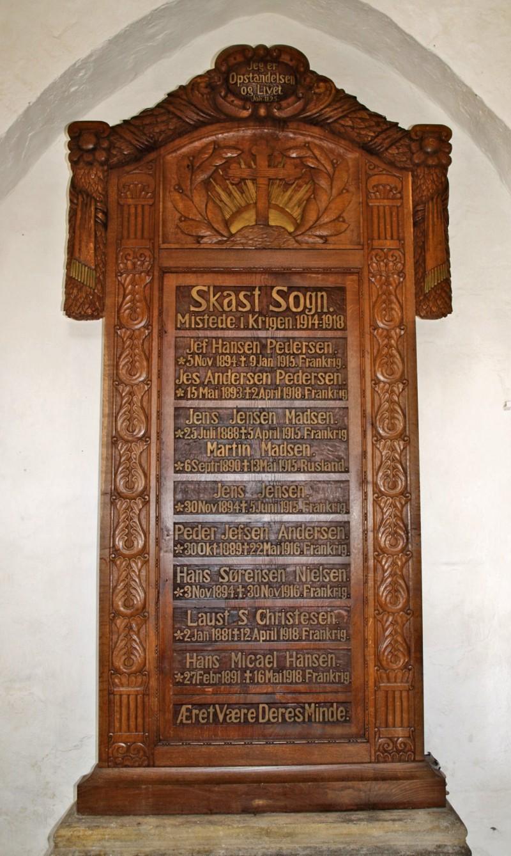 Mindetavle, Skast Kirke