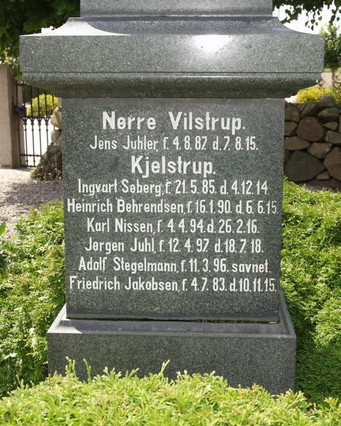 Del af mindesten, Vilstrup Kirkegård