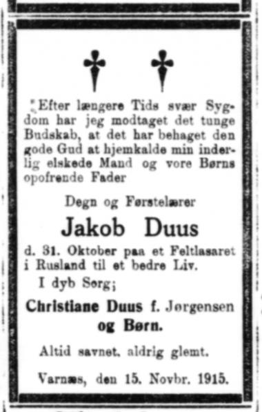 Dødsannonce over Jakob Duus i Hejmdal 15. november 1915