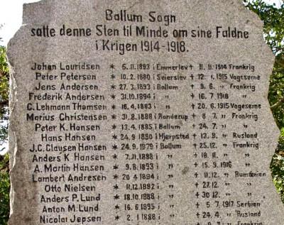 Detalje af mindesten, Ballum Kirkegård