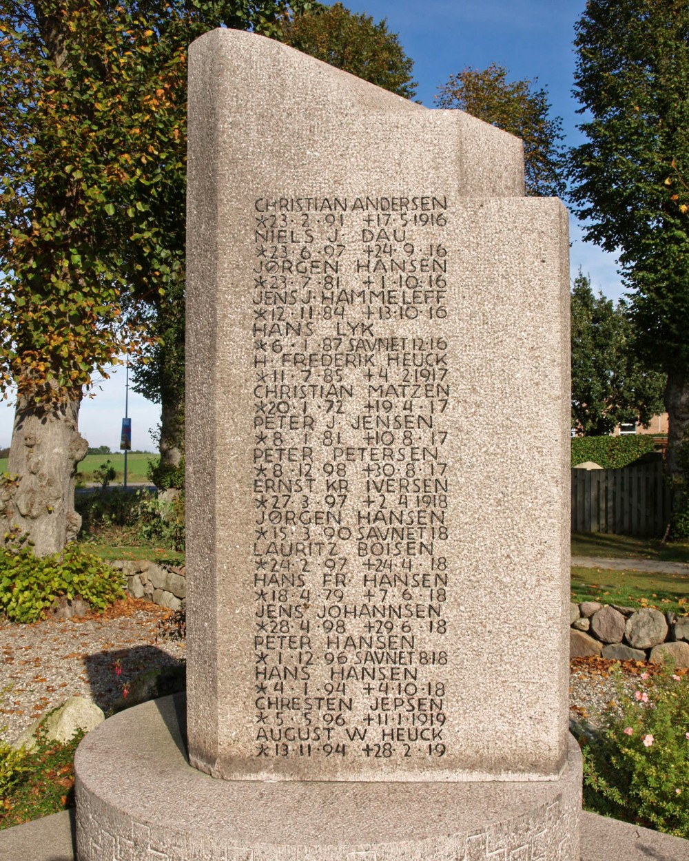 Mindesten, Dybbøl Kirkegård