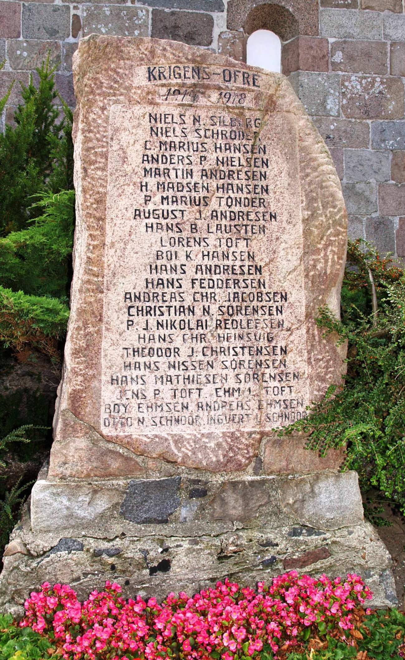 Mindesten, Emmerlev Kirkegård