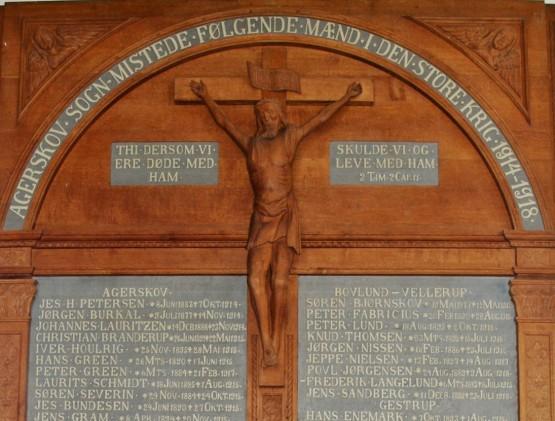 Detalje af mindetavle, Agerskov Kirke
