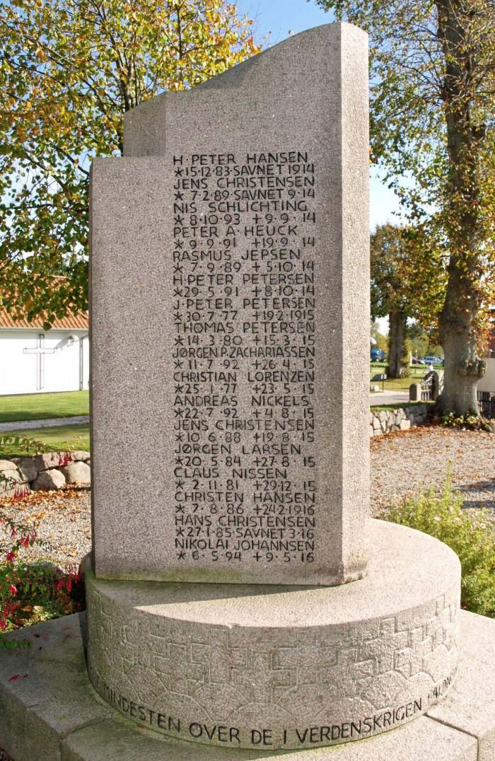Mindesten, Dybbøl Kirkegård, med Claus Nissens navn