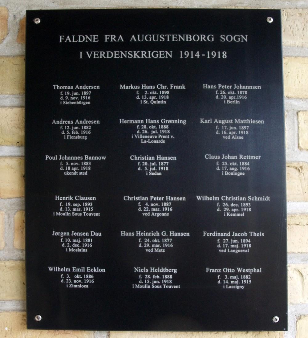 Mindetavle, Kapellet, Augustenborg Kirkegård
