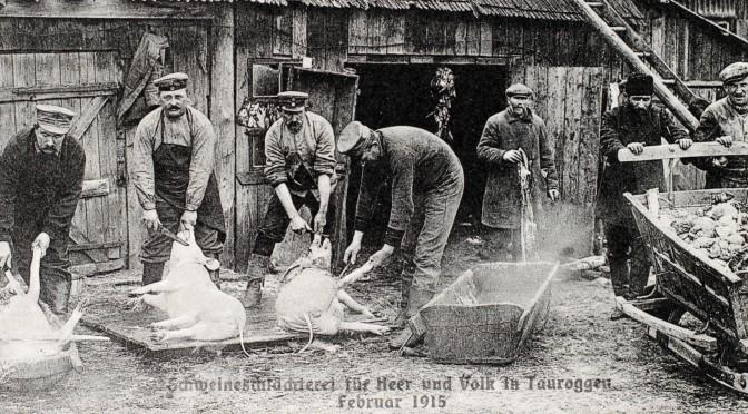 """6. januar 1918. Kompagnibedstefar på """"trykpost"""" i proviantdepotet"""