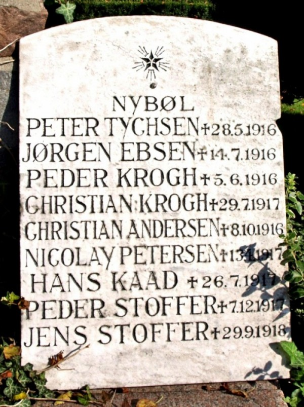 Mindesten, Nybøl Kirkegård