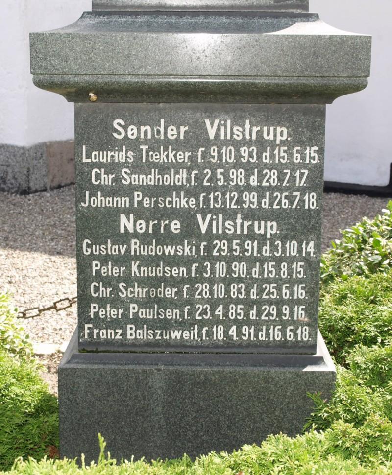 Mindesten, Vilstrup Kirkegård