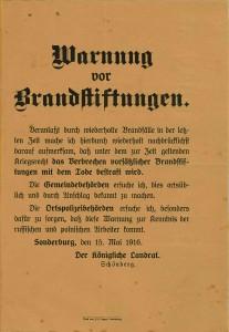 Forsættelig brandstiftelse straffes med døden. Dateret 15. maj 1916. Forordning på Sønderborg Slot.