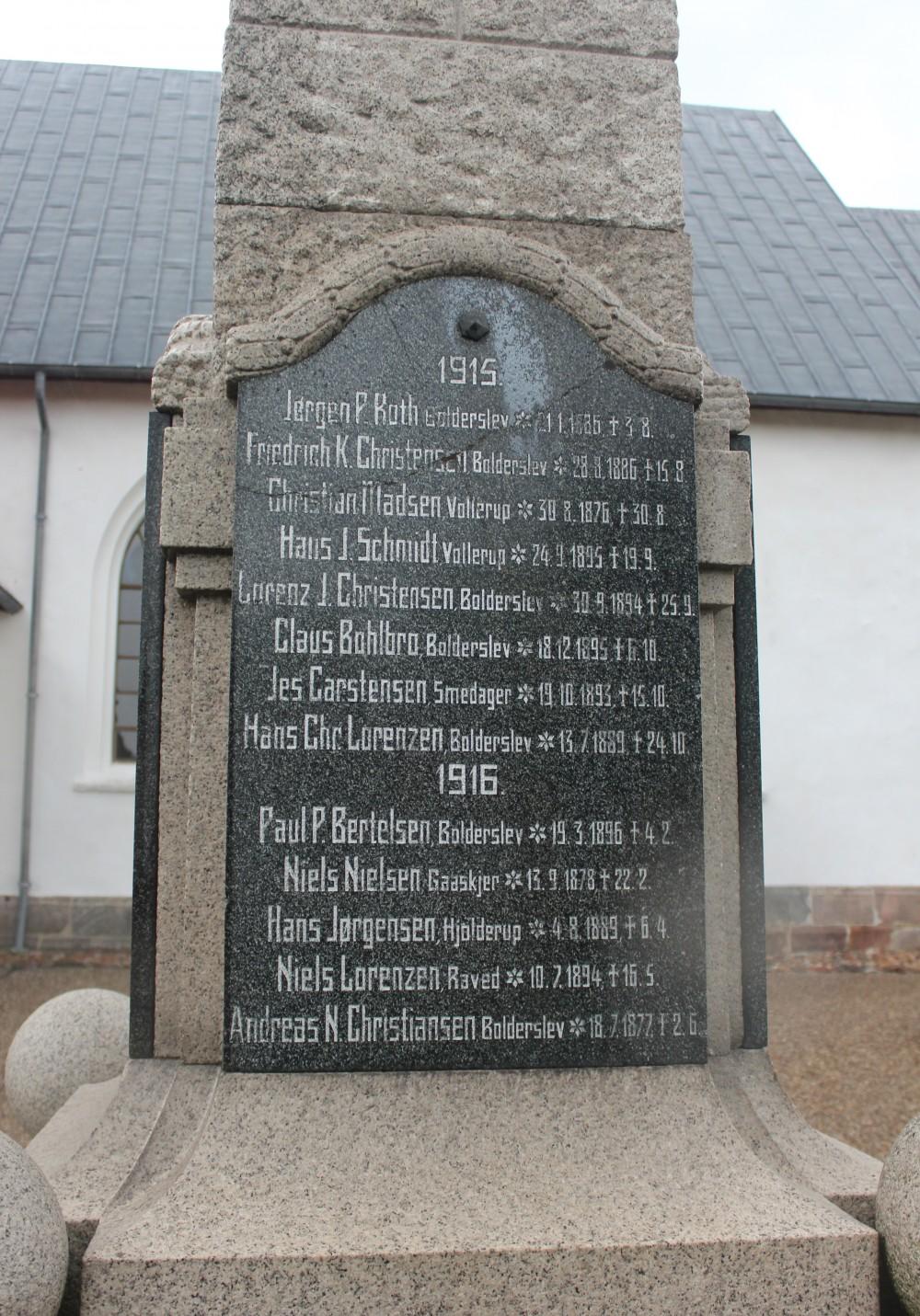 Detalje af mindesten, Bjolderup Kirkegård