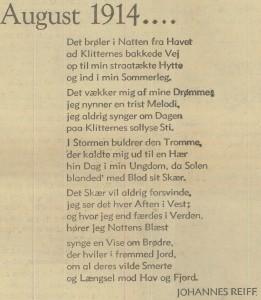 """""""August 1914 ...."""" ved Johannes Reiff. Trykt på forsiden af ekstranummer af Jydske Tidende, 1. august 1939."""