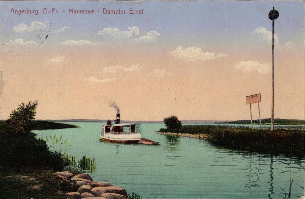 1916-06-20 LIR84 Otto Theodor Wagner - Angerburg. O. - Pr. - Mauersee - Dampfer Ernst
