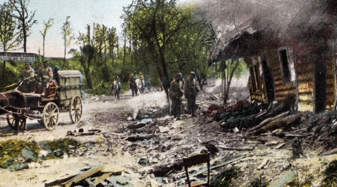 """2. april 1918. """"… en granatsplint i højre lår og en kugle gennem agterspejlet"""""""