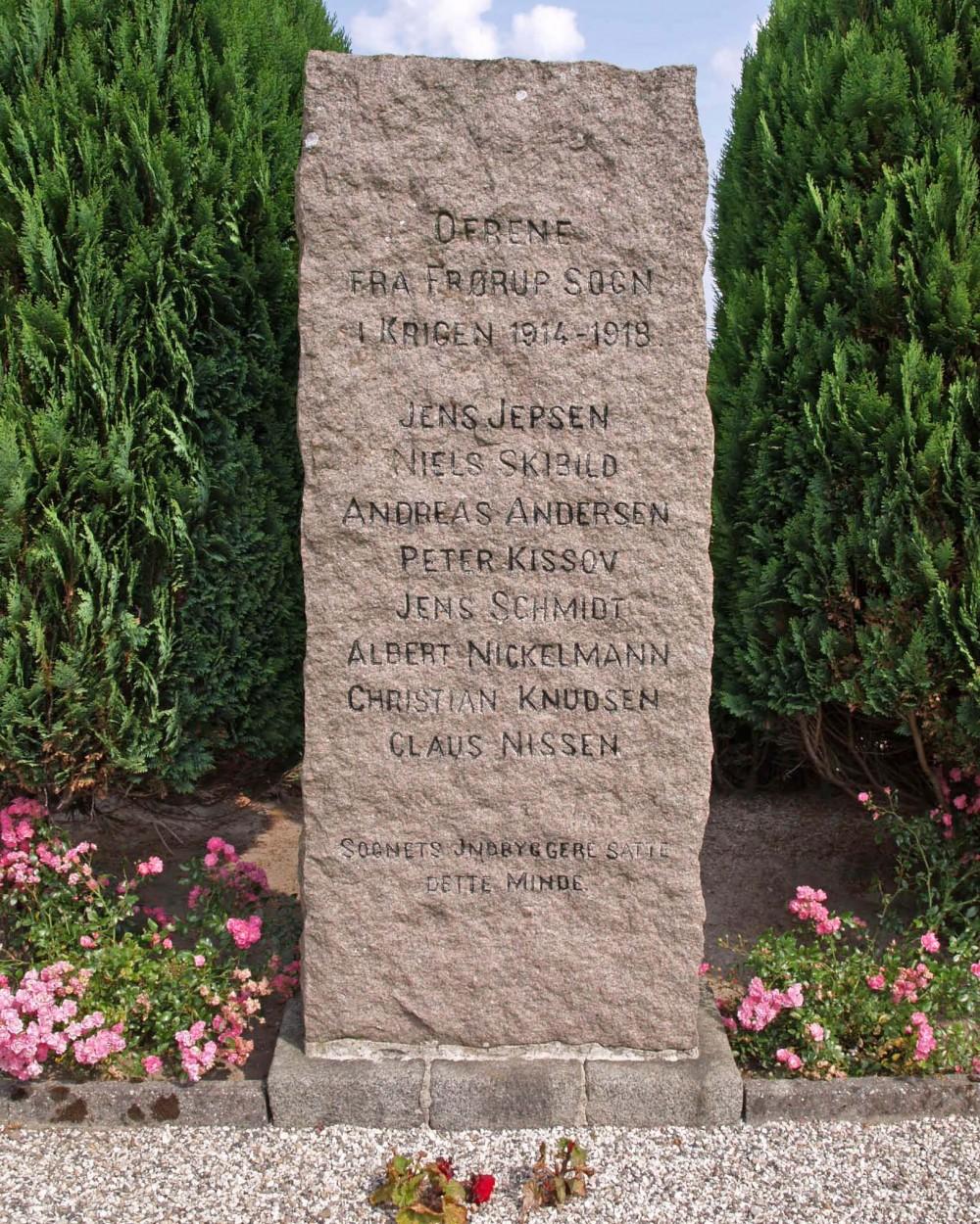 Mindesten, Frørup Kirkegård