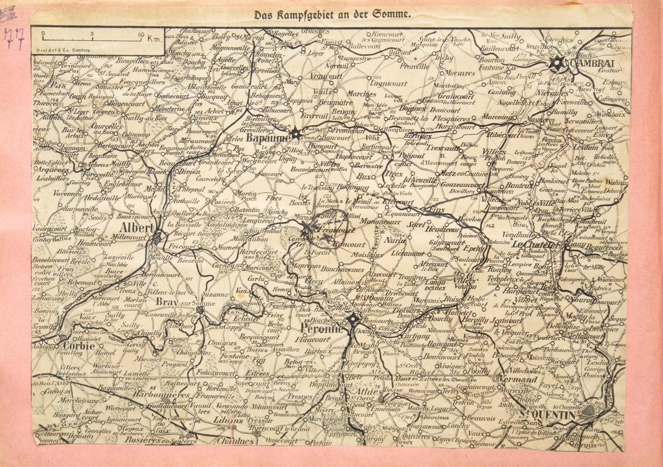 Kort over slagmarken ved Somme fra Christian Campradts scrapbog med indtegning af det område, han var indsat i september 1916 (Historisk Arkiv for Haderslev Kommune)