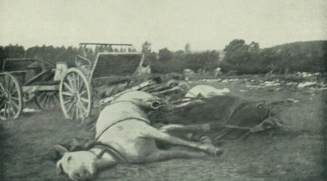 """30. september 1916. Ved Somme:  """"Hist og her laa en uformelig Masse, der ved nærmere Eftersyn viste sig at være de til Ukendelighed sammenskudte Rester af et Menneske"""""""