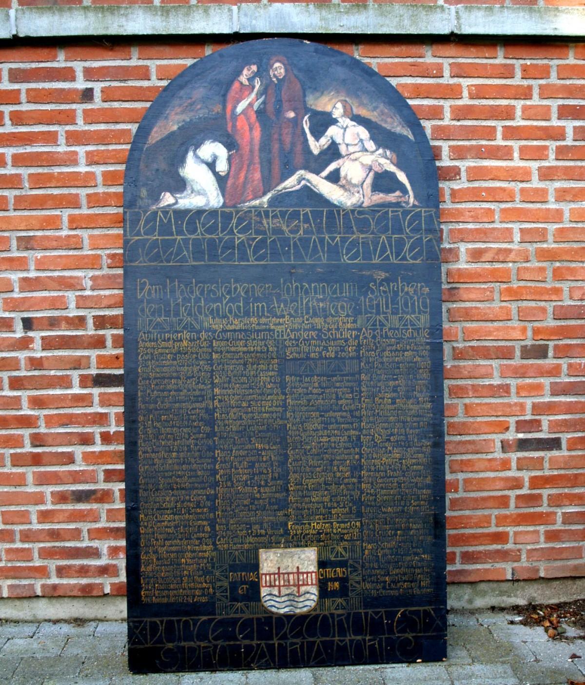 Mindetavle, Haderslev Katedralskole over faldne, tidligere elever