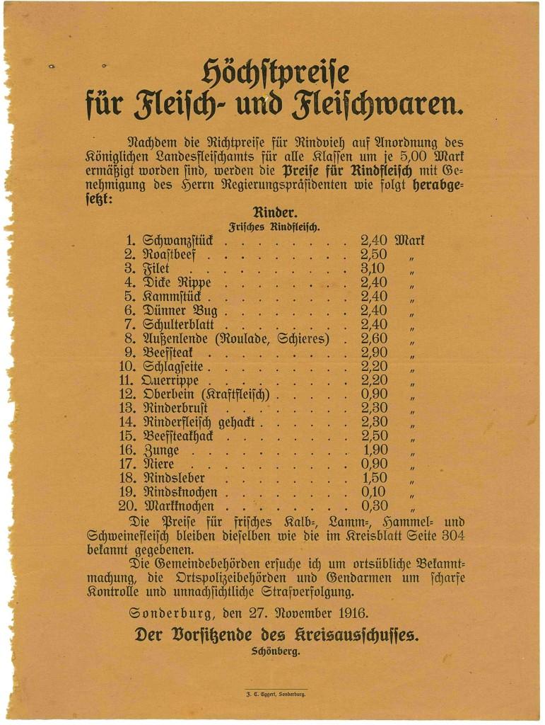 Bekendtgørelse, dateret 26. november 1916, ang. maksimumpriser på oksekød. (Tilhører Sønderborg Slot)