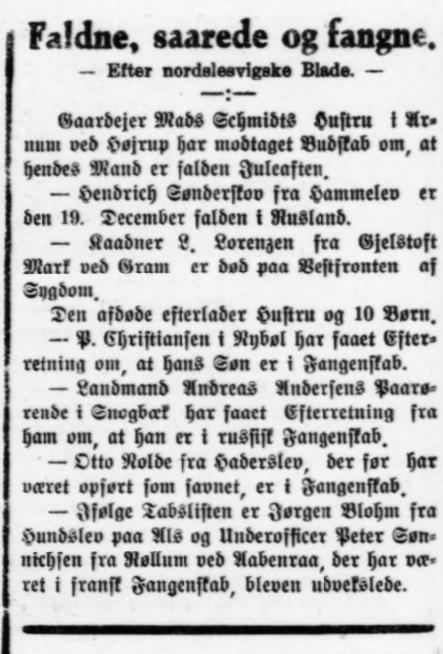 Indlæg i Ribe Stiftstidende 12. januar 1917 med meddelelsen om L. Lorenzens død