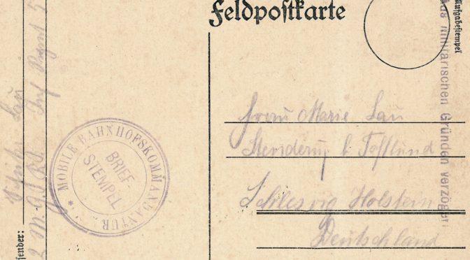 """21. juli 1918. Sidste brev fra Antoni Outzen: """"Kys til dig og gutten."""""""