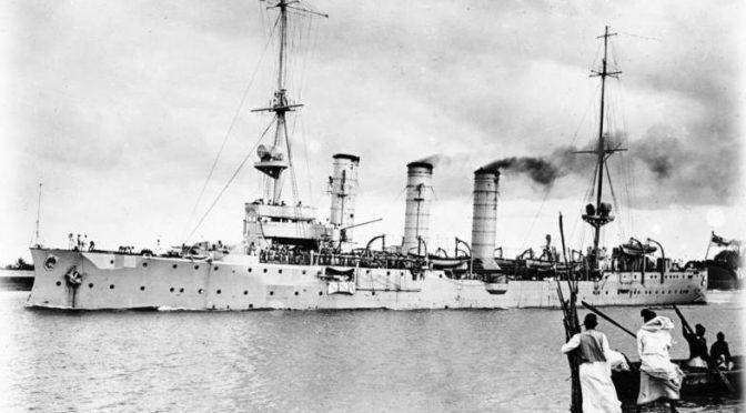 """Verdenskrigen i Østafrika. Krydseren """"Königsberg"""" åbner ballet."""