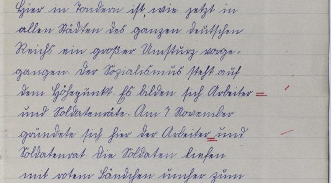 """22. november 1918 – Marie Cosmus: """"Deutschland ohne Kaiser."""""""