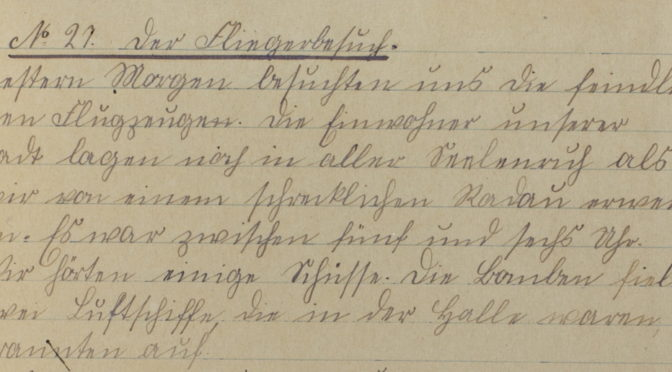 """12. september 1918 – Marie Cosmus: """"Zwei Luftschiffe, die in der Halle waren branten auf."""""""