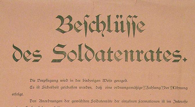7. november 1918. Soldaterrådet i Sønderborg bekendtgør!