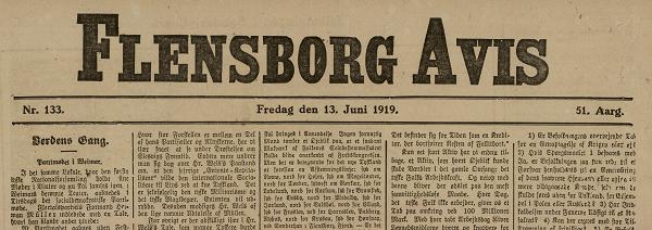 "13. juni 1919 – Flensborg Avis: ""Paa Vildspor"""