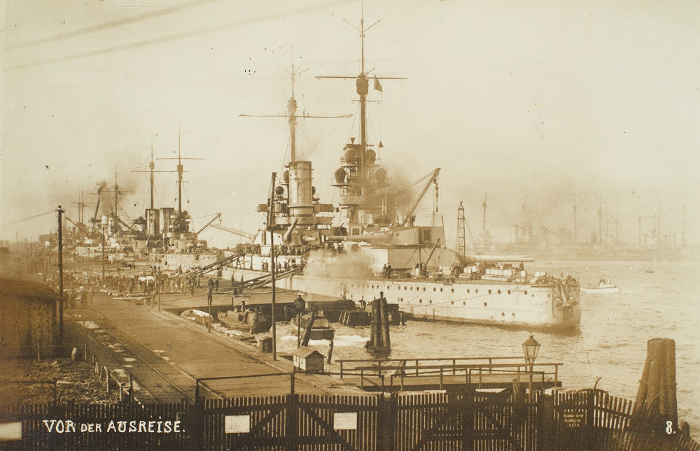 Tyske krigsskibe i Wilhelmshaven kort inden afsejlingen til internering i Scapa Flow (Museum Sønderjylland - Museet på Sønderborg Slot)