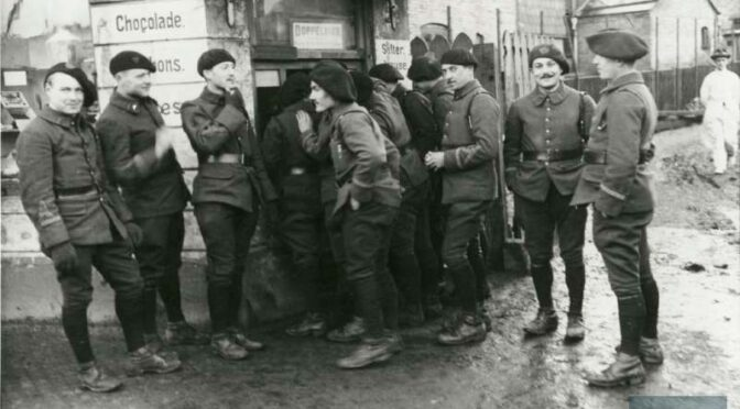 22. januar 1920. Et lokomotiv med 22 alpejægere ruller gennem Sundeved
