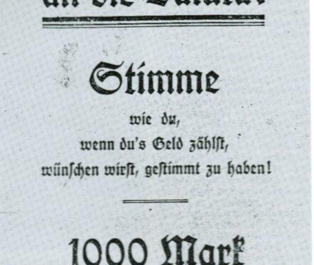 Tysk løbeseddel: 1.000 mark er kun 250 kroner!