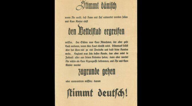 9. september 1919. Tyske plakater påstår, at Danmark er på ruinens rand
