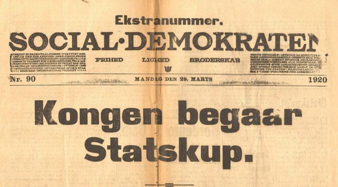 29. marts 1920. P. Chr. Stemann: Kongen har afskediget ministeriet.