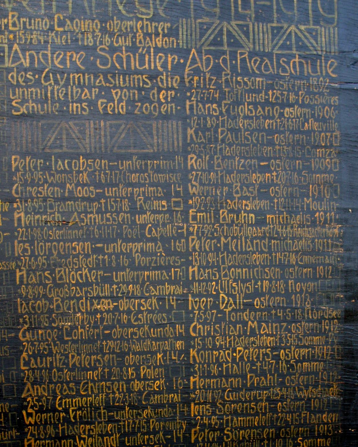 Mindetavle, Haderslev Katedralskole, over faldne, tidligere elever
